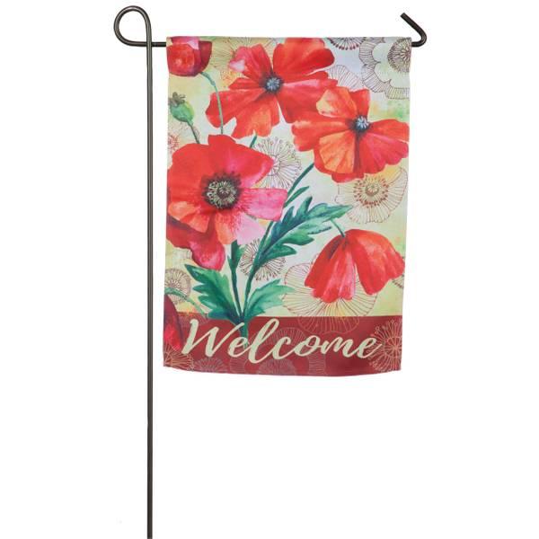 Watercolor Poppies Garden Suede Flag