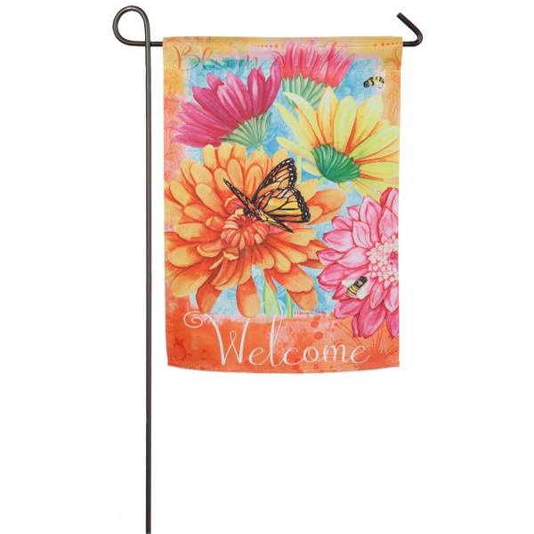 A Colorful Welcome Garden Suede Flag