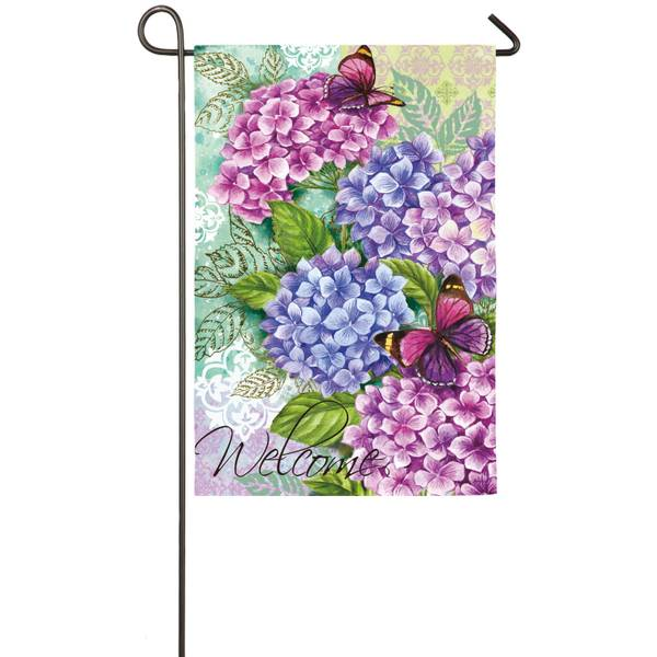 Beautiful Hydrangeas Garden Suede Flag