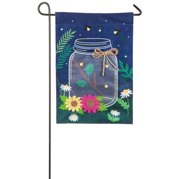 Fireflies with Mason Jar Garden Linen Flag