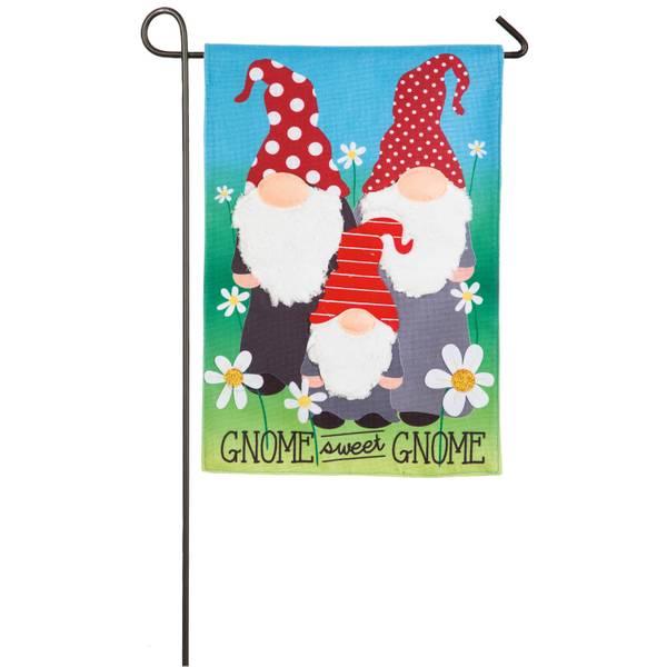 Gnome Sweet Gnome Garden Burlap Flag