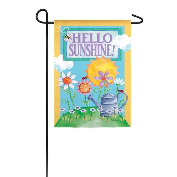 Hello Sunshine Garden Suede Flag