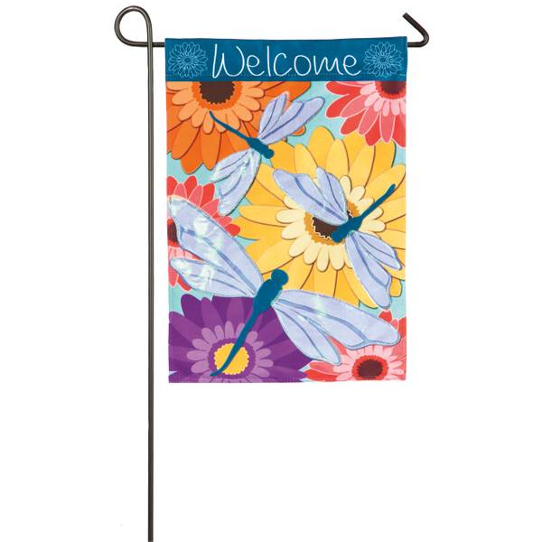 Dragonfly Welcome Garden Linen Flag