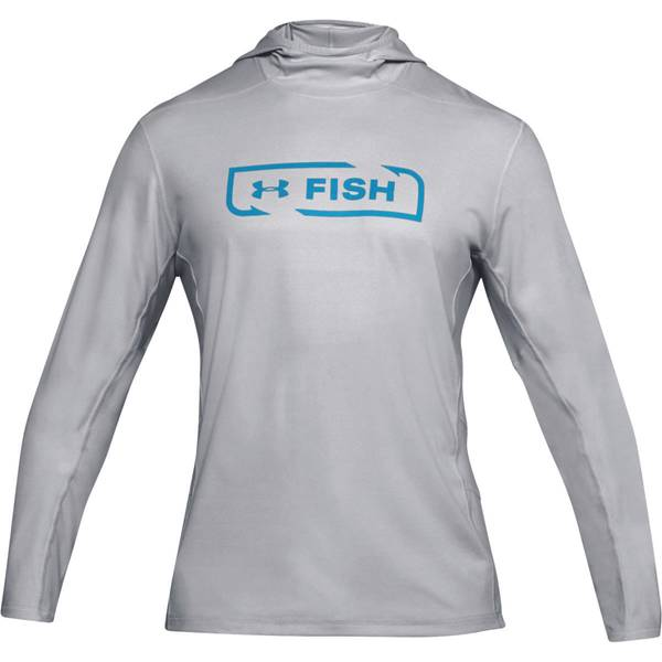 Men's Elemental Light Heather and Canoe Blue Fish Hunter Tech Hoodie