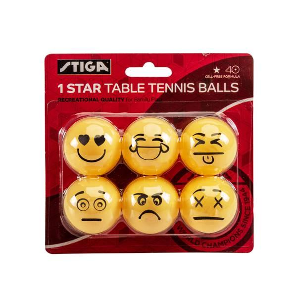 Escalade Emoji One Star 6 Pack Table Tennis Balls