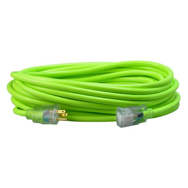 12/3 40' Neon Green Extension Cord