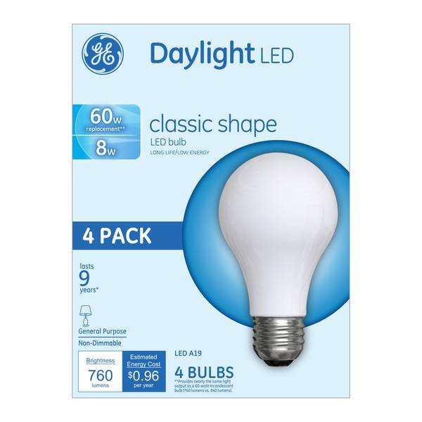 daylight GE LED dimmable 4 bulbs pack clear XZiOPku