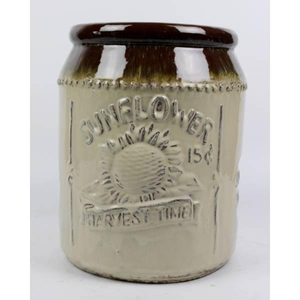 Sunflower Brown & Antique Cream Jar