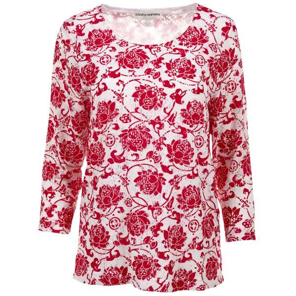 Misses Floral Print Scoop Neck Blouse