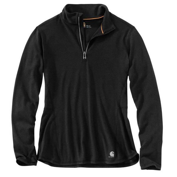 Misses Black Heather Force Ferndale Quarter-Zip Shirt
