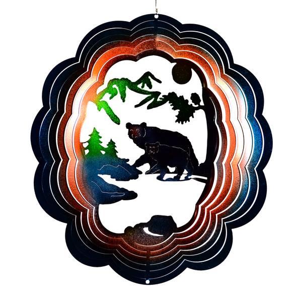 Black Bear Spiral Wind Spinner