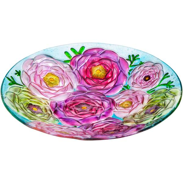 "18"" Flower Glass Birdbath Topper"