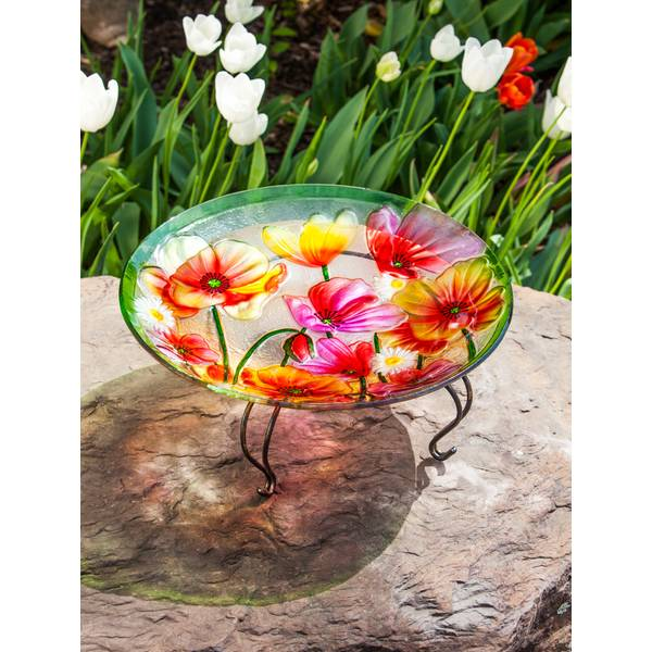 "18"" Poppies Glass Birdbath Topper"