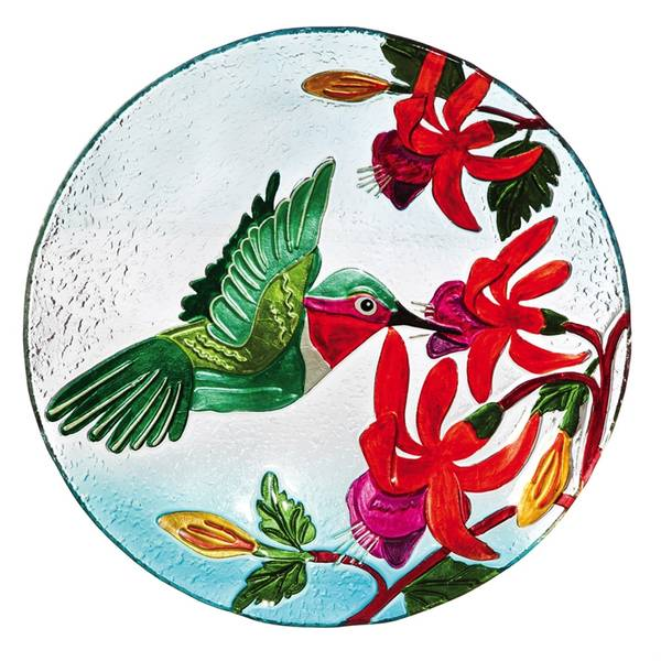 "18"" Hummingbird Flutter Glass Brdbath Topper"