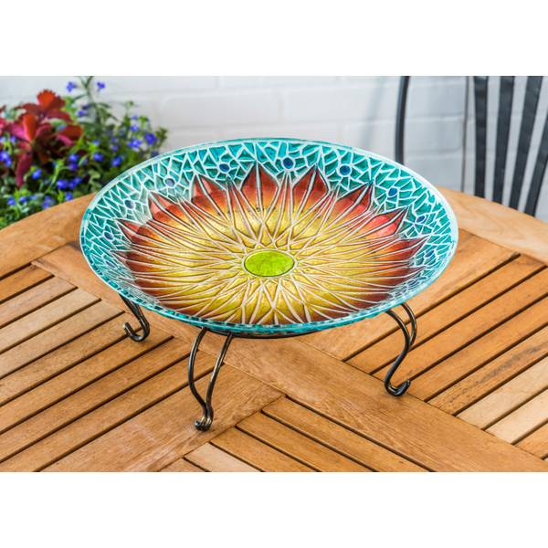 "18"" Sunflower Glass Birdbath Topper"
