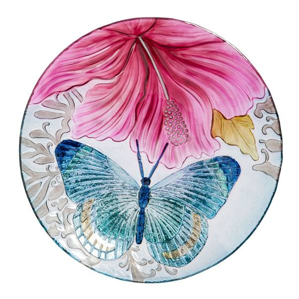 "18"" Butterfly Dance with Hibiscus Glass Birdbath Topper"