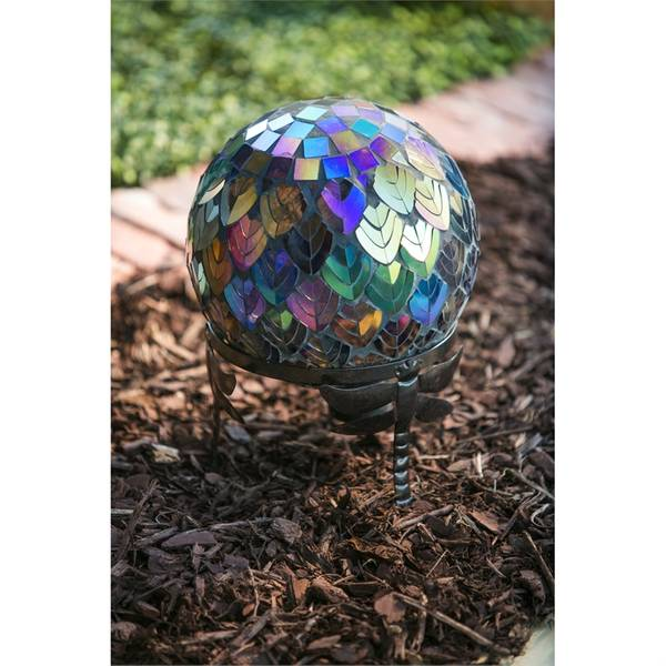 Dragonfly Adorned Gazing Ball Stand