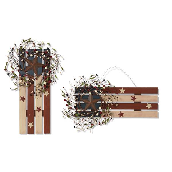 Patriotic Wood Flag Wall Hanging with Berries & Stars