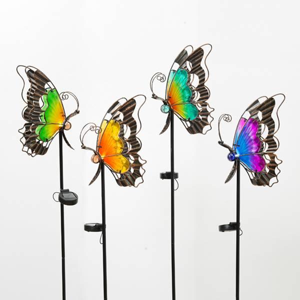 """46.9"""" Solar Metal & Glass Butterfly Assortment"""
