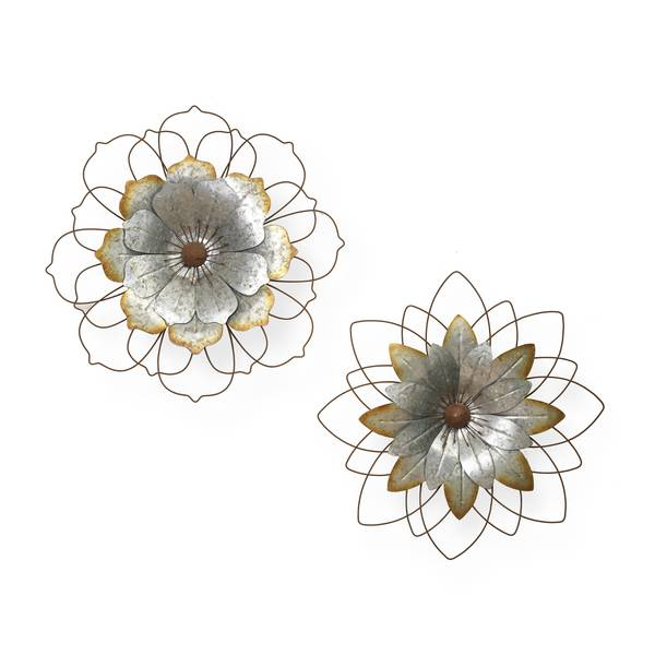 Galvanized Flower Wall Decor Assortment