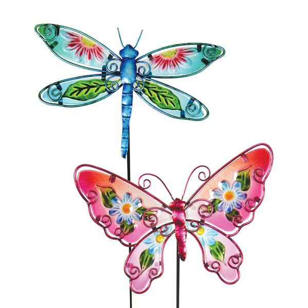 Glass Floral Wing Butterfly Garden Stake