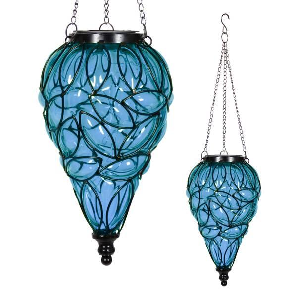 Blue Tear Shaped Solar Glass Lantern