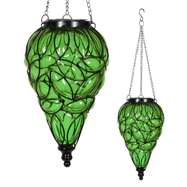 Green Tear Shaped Solar Glass Lantern