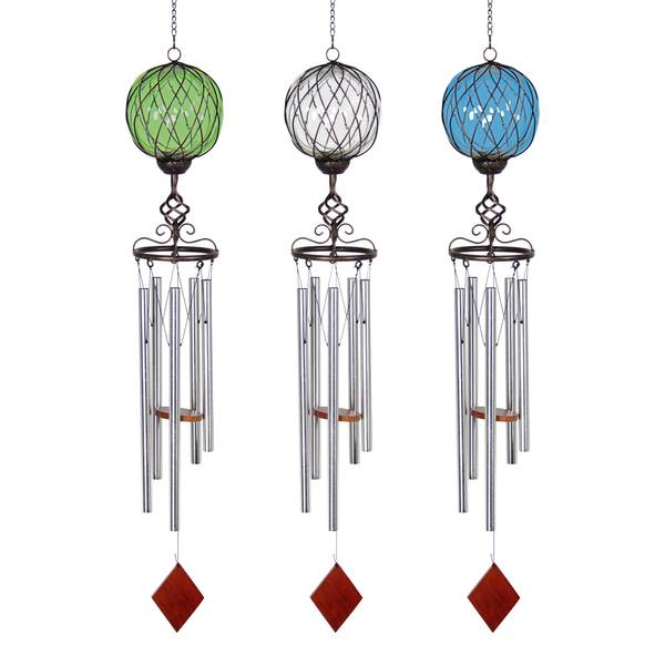 Glass & Metal Solar Wind Chime