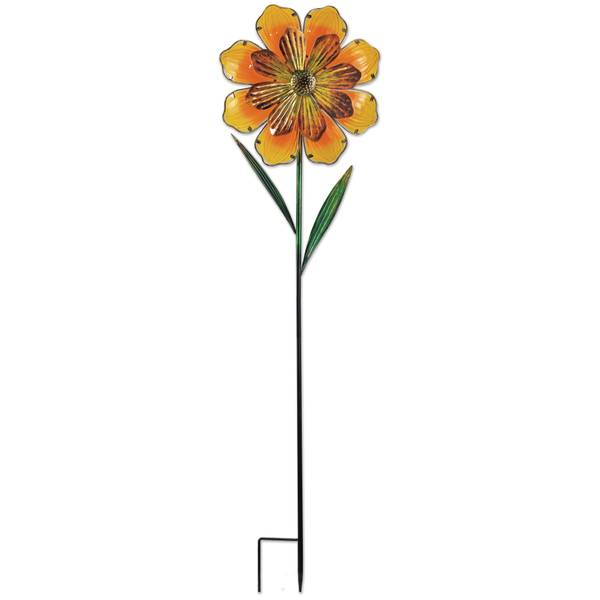 "42"" Orange Flower Spinner Stake"
