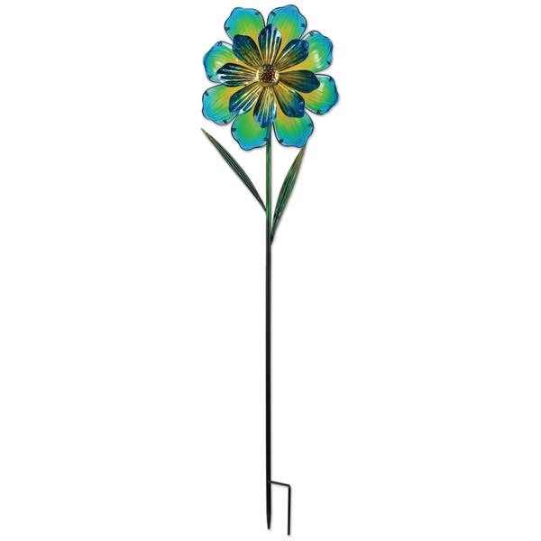 "42"" Blue Flower Spinner Stake"
