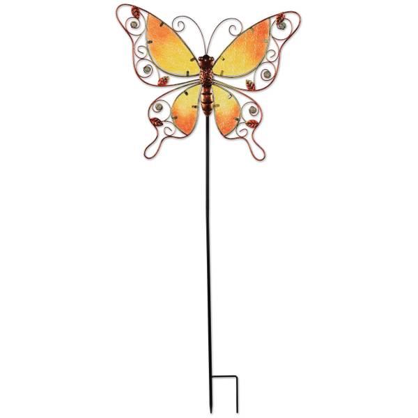 "38"" Orange Butterfly Spring Stake"