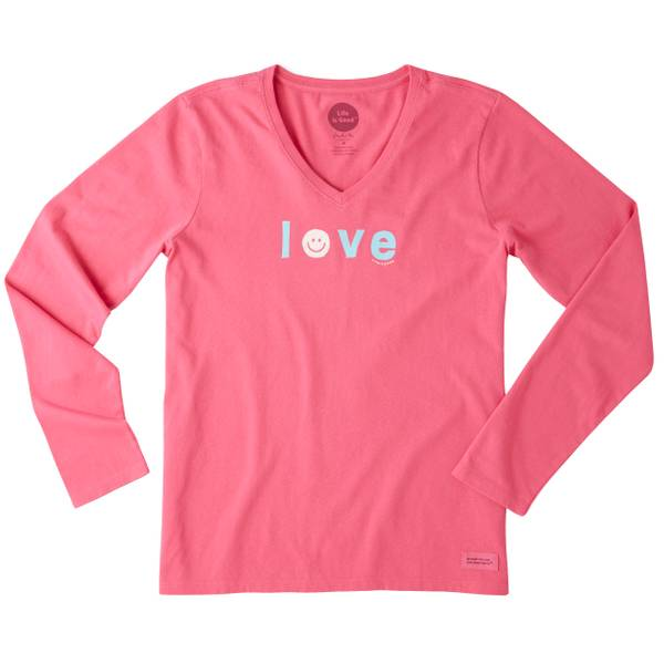Women's Smiley Love Long Sleeve Crusher Vee