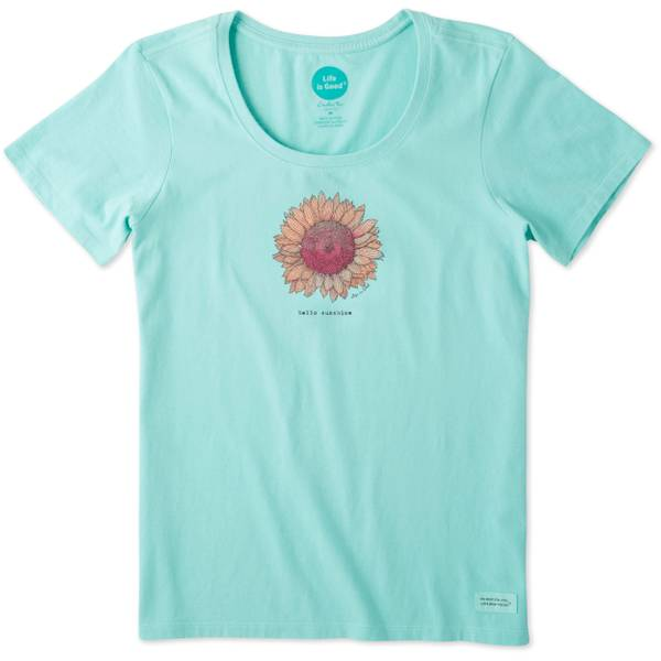 Misses Hello Sunshine Short Sleeve Crusher Scoop Neck Top