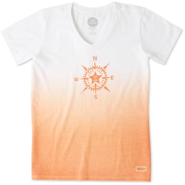 Misses Compass Star Dye Short Sleeve Crusher V-Neck
