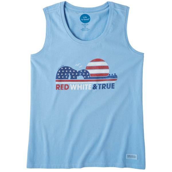 Misses Red White & True Sleeveless Crusher Tanktop