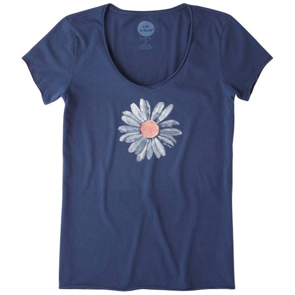 Misses Big Daisy Blue Short Sleeve Smooth Tee