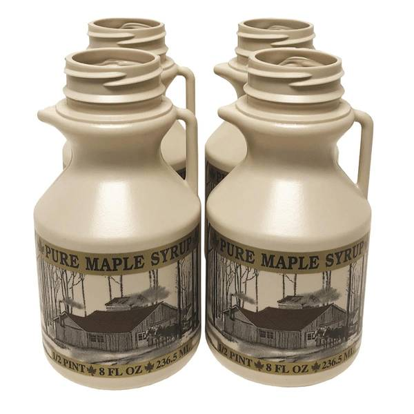 1/2 Pint Plastic Maple Syrup Jug 4-Pack