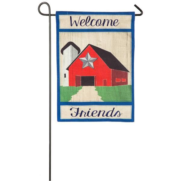 Country Patriot Barn Garden Burlap Flag