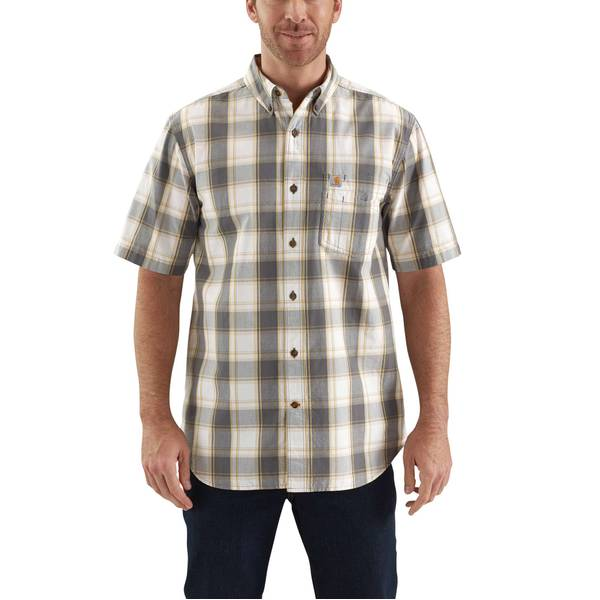 Men's Essential Plaid Short Sleeve Button Down Shirt