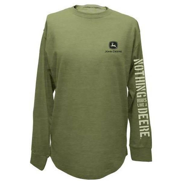 Men's Gray Green Nothing Runs Like A Deere Long Sleeve Tee