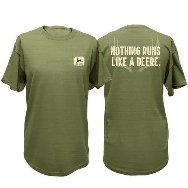 Men's Gray Green Nothing Runs Like A Deere Short Sleeve Tee