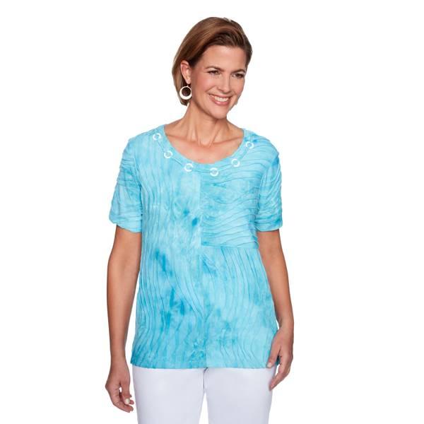 S MS Tie Dye Textured Top Aqua -I