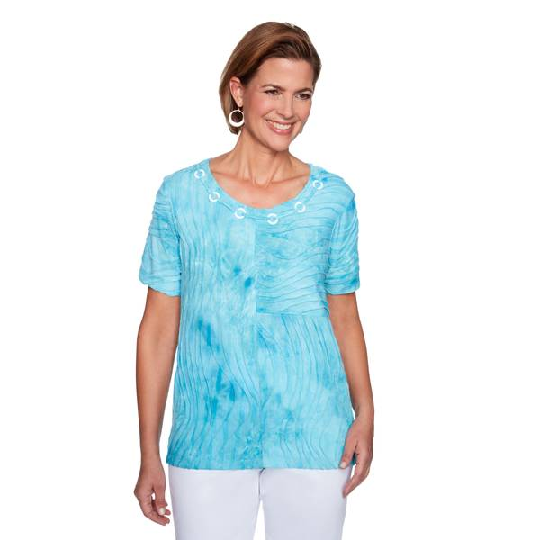 Women's Aqua Tie Dye Textured Top