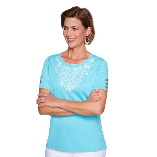 2X PL Embroidered Yoke Top Aqua -I