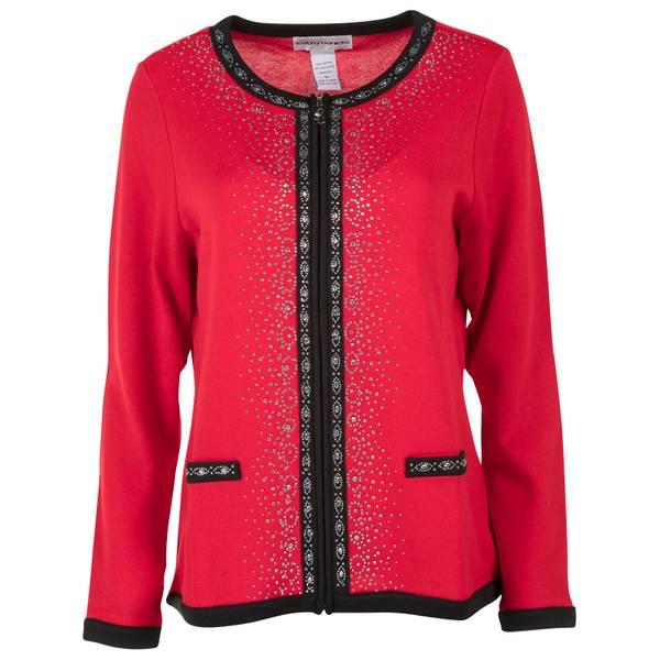 Petite Red & Black Jewel Neck Front Zip Jacket