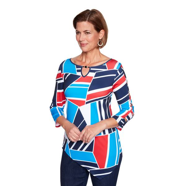 Misses Geometric Patchwork Top