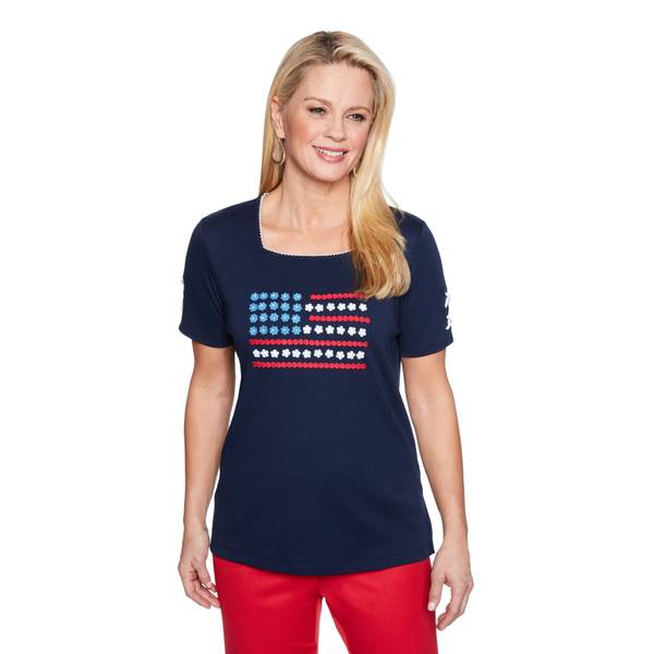 Misses Navy Flag Woven Top