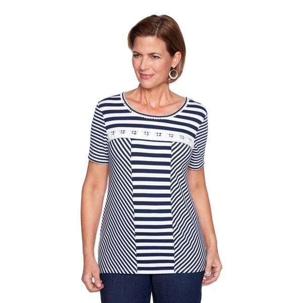 Misses Black & White Spliced Stripe Top