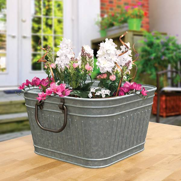 "Galvanized 14"" Square Mini Washtub Planter"