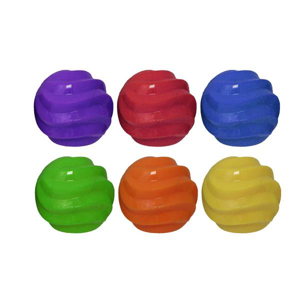 """4"""" TPR Spiral Ball Float & Squeak Dog Toy Assortment"""